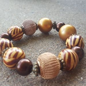 Animal Print Stretch Bracelet, Handmade